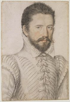 Portrait of a bearded man, half-length, wearing a slashed doublet. French, about 1575