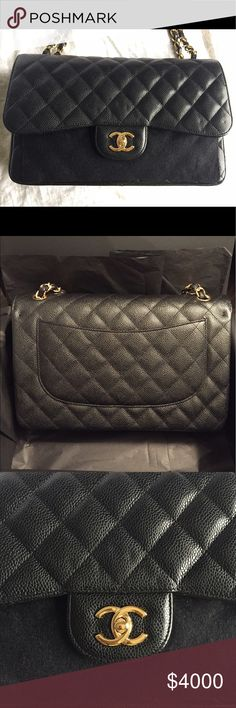 Chanel Jumbo black caviar gold hardware Chanel Jumbo double flap bag. Caviar leather, gold hardware. Bag has never been worn. inside is 10/10 mint condition brand new. Outside has few chain imprint marks. Other than that bag is flawless! PRICED TO SELL. ✨PAYPAL PRICE ONLYYYYYY!!!!!!!!!!!✨ Comes full set *WITH RECEIPT* SERIOUS BUYERS ONLYYYY!!!! CHANEL Bags Shoulder Bags