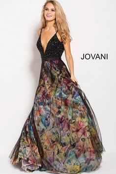 21b5138f60 Bring a work of art to life in Jovani 58685. This vibrant gown has a