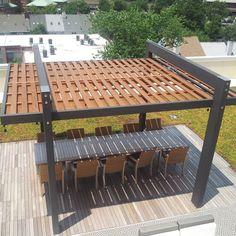 Backyard pergola modern shade structure 24 ideas for 2019 Pergola Canopy, Outdoor Pergola, Backyard Pergola, Pergola Shade, Backyard Landscaping, Pergola Carport, Steel Pergola, Cheap Pergola, Outdoor Fire