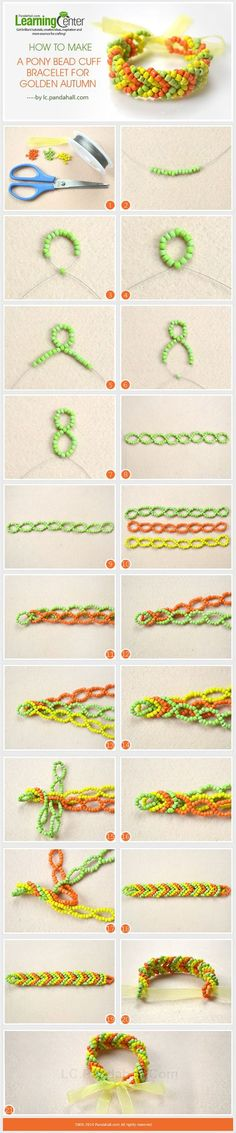 How to Make a Pony Bead Cuff Bracelet for Golden Autumn (This might be cute using seed beads instead of pony beads) Pony Bead Bracelets, Beaded Cuff Bracelet, Diy Bracelet, Cuff Bracelets, Seed Bead Jewelry, Bead Jewellery, Jewelry Making Tutorials, Beading Tutorials, Beaded Jewelry Patterns