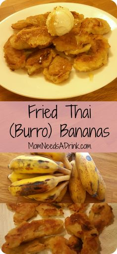 Mom Needs A Drink   Fried Thai Bananas (Burro Bananas)  Such a delicious sweet treat made from the Thai Bananas (locally Burro banana but also called Gluay Naam Waa or Nam Wa) with a sweet batter. No deep fryer required to make these fried bananas (banana fritters, Kluay Kaek) MomNeedsADrink.com