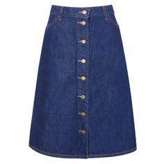 Saia jeans bruto mídi A-line Levi's - Saia em jeans levemente encorpado, modelagem evasê, shape solto, comprimento mídi, bolsos e fechamento por botões.