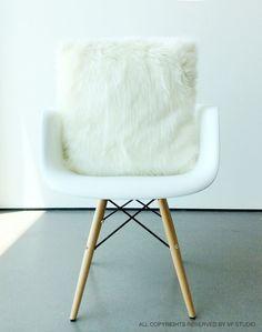 Scandinavian Euro Sham Ivory fur pillow covers 26 X 26