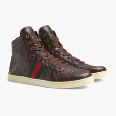 6ca4b627951b GUCCI Hightop Mens Sneakers Mir Soft Guccisima Material  Leather   Rubber  Hardware  Silver Color  Brown Outer Sole  Rubber Comes with Original box  and ...