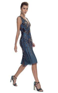 Bronze Embroidered Slate Blue Silk Dress by Carolina Herrera for Preorder on Moda Operandi