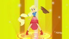 #1658311 - applejack, blonde, equestria girls, forgotten friendship, friendship power, hatless, missing accessory, ponied up, safe, screencap, solo, spoiler:eqg series, super sentai stance - Derpibooru - My Little Pony: Friendship is Magic Imageboard
