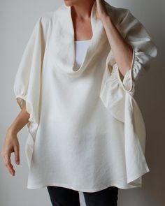 Cream winter white linen smock frock / top by MuguetMilan Look Fashion, Fashion Design, Black Linen, White Shirts, Winter White, One Size Fits All, Frocks, What To Wear, Style Me
