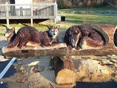 Animales Tallados en Troncos arte madera animales