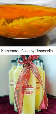 Homemade Creamy Limoncello - great holiday gift. Tastes great straight out of the bottle or over ice cream!