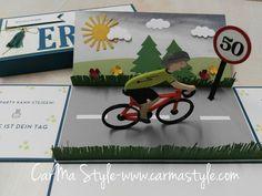 Zum runden Geburtstag eines (Hobby-) Rennradfahrers wurde diese Explosionsbox verschenkt. Natürlich gibt's ein Kuvert dazu, die Wünsche für die nächste Fahrrad Saison gehören natürlich erfüll…