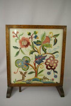 Vintage Jacobean Design Crewel Embroidery Oak Frame Firescreen Coffee Side Table
