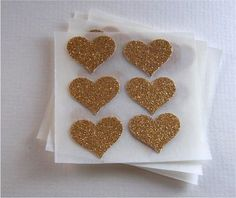 envelope seals - small gold glitter heart stickers - set of 24. $3.75, via Etsy.