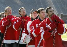 Detroit Red Wings players, from left, Nicklas Lidstrom, of Sweden, Niklas Kronwall, of Sweden, Jimmy Howard, Pavel Datsyuk, of Russia, and Henrik Zetterberg, of Sweden