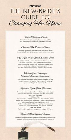Planning on changing your name after marriage? Save this New-Bride's Guide to Changing Her Name checklist so you don't forget anything! #NameChange #Marriage