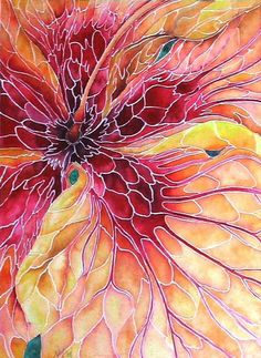 beautiful Hibiscus Mosaic Watercolor by Nancy Hartson-Miller