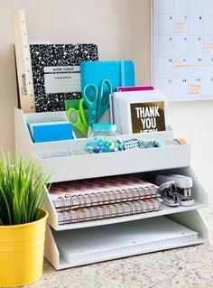 Office Organization Rack - Desk Organization - Home Office Decor - Office Decor Home Office Organization, Organization Hacks, Organizing Clutter, Stationary Organization, Office Storage, Desk Office, Organising, Organizing Ideas For Office, Desk Storage