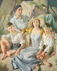 Bernard Fleetwood Walker - Family at Polperro - 1934-36 - oil on canvas