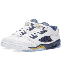 52b9e3db5bf Nike Air Jordan 5 Retro Low GS 'Dunk From Above' ($120) ❤ liked on Polyvore  featuring men's fashion and men's shoes