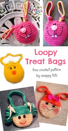 Free Pattern: Loopy Bags ~ Snappy Tots Source by and purses Holiday Crochet, Easter Crochet, Crochet Gifts, Crochet For Kids, Crochet Purses, Crochet Dolls, Crochet Yarn, Free Crochet, Free Knitting
