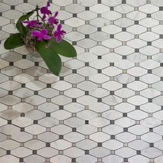 Rhomboid Shaped Mosaics in White Marble, with Grey Accents