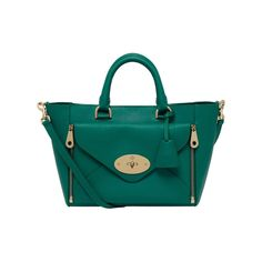 Mulberry: Small Willow Tote Silky Classic Calf in Emerald