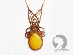 """Ketten mittellang - Makramee """"gelbe Jade"""" Jugendstil - ein Designerstück von soyana bei DaWanda"""