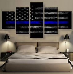Assorted American Flag with Police blue line and others