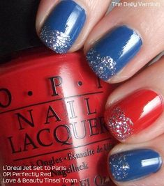 Red, Glitter and Blue manicure (from The Daily Varnish)