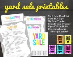 Get Organized YARD SALE Printable Pack for your Yard or Garage Sale Signs Flyer Tips Lists Sale Trackers