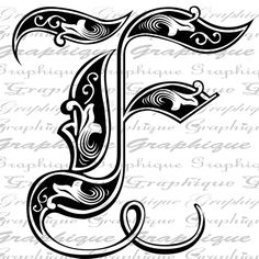 LETTER Initial F Monogram Old ENGRAVING Style Type Text