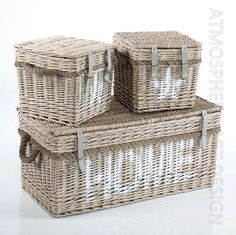 Baule cassapanca Home in giunco naturale shabby chic Set 3 Pz
