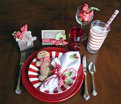 Holiday table setting. Adorable.