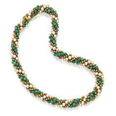 18 Karat Gold, Turquoise and Cultured Pearl 'Twist' Necklace, Van Cleef & Arpels, France   Lot   Sotheby's