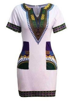 White Pocket Design Dashiki Print Dress on sale only US$23.44 now, buy cheap White Pocket Design Dashiki Print Dress at lulugal.com