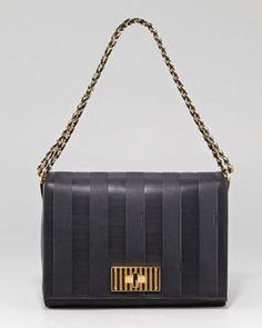 V15T0 Fendi Pequin Tonal Stripe Shoulder Bag
