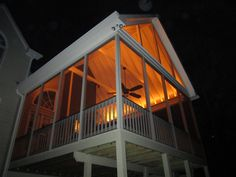 Odyssey led strip light by aurora deck lighting led strip porch we added crown moulding where the roof meets the screen walls and had our electrician put an outlet at the same height ordered custom length rope light aloadofball Choice Image