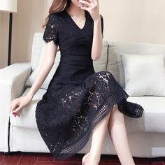 2017new 도착 새로운 여름 여성의 레이스 드레스 무릎 스커트 슬림은 얇은 봄 드레스와 긴 섹션을했다