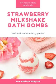 DIY Moisturizing Strawberry Milkshake Bath Bombs Bath BombsHow to make a strawberry milkshake bath bomb without cornstarch. These cute and unique bath bombs would make a great gift. These natural bath bombs are bubbly and Bath Bomb Recipes, Soap Recipes, Easy Recipes, Cream Recipes, Healthy Recipes, Diy Beauté, Natural Bath Bombs, Natural Baths, Homemade Bath Bombs