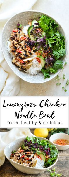 Vietnamese Lemongrass Chicken Noodle Bowl   Asian Noodle Bowl   eatlittlebird.com