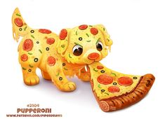 Daily Paint Pupperoni by Cryptid-Creations Cute Food Drawings, Cute Animal Drawings, Animal Sketches, Kawaii Drawings, Animal Puns, Animal Food, Cute Puns, Creature Drawings, Cute Illustration