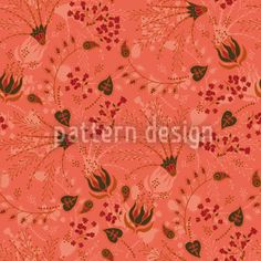Natashas Magic Garden Apricot created by Martina Stadler offered as a vector file on patterndesigns.com Retro Pattern, Pattern Design, Floral Illustrations, Vector File, Magic, Garden, Artwork, Patterns, Block Prints