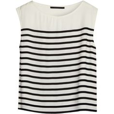 Bruuns Bazaar Sleeveless Striped Tank Top (2 385 UAH) ❤ liked on Polyvore featuring tops, shirts, tank tops, tanks, striped tank top, loose tank, loose fitting tanks, cream shirt and loose shirts