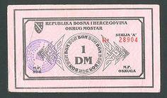 BOSNIA 1 DM ( German Mark) 1993/94 VF+ MOSTAR DISTRICT, local war emergency http://cgi.ebay.com/ws/eBayISAPI.dll?ViewItem&item=161203938676