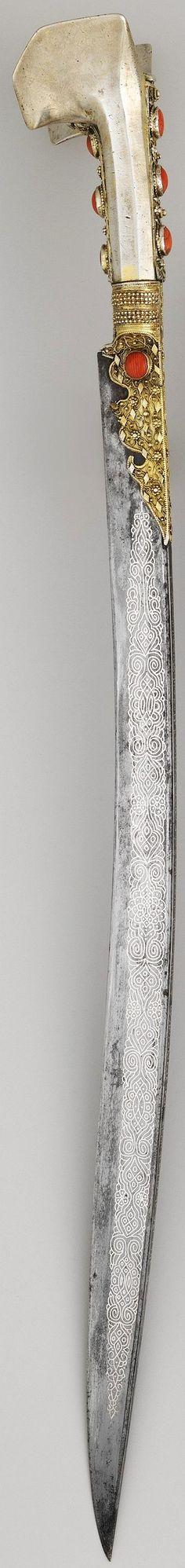 Ottoman (Anatolian or Balkan) yatagan / yataghan, dated steel, silver… Swords And Daggers, Knives And Swords, Katana, Ancient Armor, Cool Swords, Arm Armor, Fantasy Weapons, Ottoman Empire, Blade