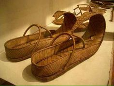Ancient Egyptian slippers artistically made from paypraus ... 18th dynasty of Egyptian Kingdom..