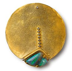 Gold Disk and stone Brooch