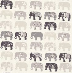 ELEPHANT REALISTIC ELEPHANTS CREAM COTTON FABRIC FQ