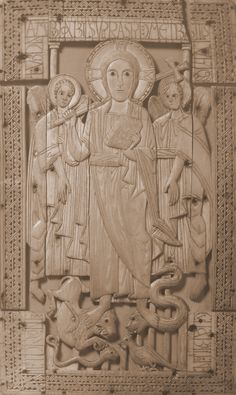 Half of an Ivory Dyptych, probably a book cover, Christ in Majesty standing on evil creatures, 8th century, probably made in France but in a centre with conspicuous Anglo-Saxon influence.