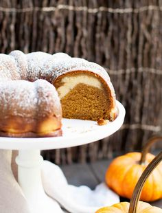 Pumpkin Ricotta Bundt Cake. Pour a sweet ricotta custard over the batter before baking. It will magically bake into a lovely swirl in this delicious cake.